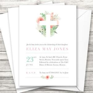 10 PERSONALISED FLORAL CROSS CHRISTENING BAPTISM INVITATIONS GIRL PINK