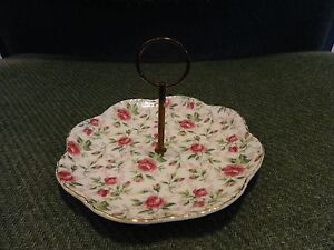 LEFTON HAND PAINTED CHINA CENTER HANDLE PLATE ROSE PATTERN