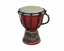 "6"" DJEMBE DRUM BONGO HAND CARVED AFRICAN ABORIGINAL DOT ART Painted DESIGN"