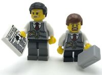 LEGO 2 NEW BUSINESSMAN BANK TELLERS THE LEGO NEWS GUYS W/ TIE CORPORATE FIGURES