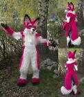 Christmas Sexy Fursuit Long Fur Red Husky Mascot Costume Adult Wolf Fox Dog 2020