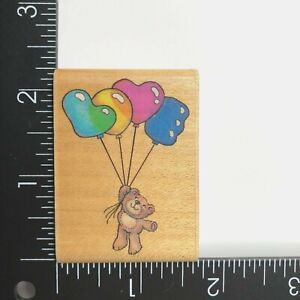 Rubber Stampede Love Is in the Air Wood Mounted Rubber Stamp 726D Bear Balloons