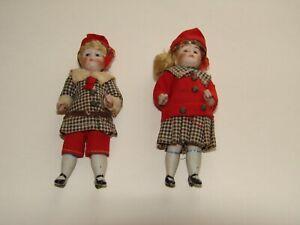 ANTIQUE PAIR BISQUE BOY & GIRL DOLL/DOLLS FIGURINES XMAS ORNAMENTS PRE 1930