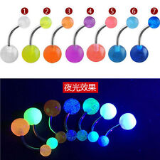 7Pcs Glow In The Dark Belly Button Navel Bar Rings Body Piercing Jewelry BC4U