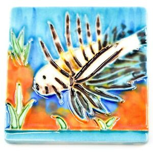 """Jaco Hand-Painted Lionfish Ocean Fish Raised Relief High Gloss 3"""" Tile Magnet"""