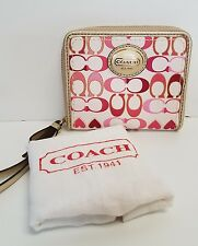 Coach White Pink Gold Signature Zip Around Wristlet Mini Wallet