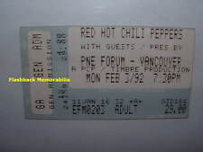 RED HOT CHILI PEPPERS 1992 Concert Ticket Stub VANCOUVER PNE FORUM Very Rare