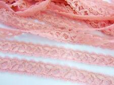 """10 yards Elastic/Stretch Soft Floral Lace 1/2"""" Trim/sewing/dress/tool T158-Pink"""