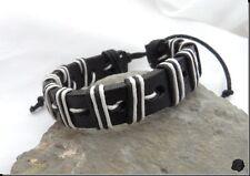 Bracelet Porte Bonheur Style Surfeur Cuir Noir Chanvre Noir Et Blanc