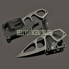 BLACK OUTDOOR SURVIVAL FIXED BLADE NECK KNIFE WITH SHEATH EDC POCKET MULTI TOOL