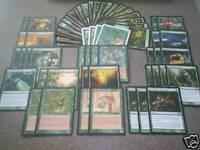 MTG Magic RANDOM GREEN DECK 4X Older cards FOILS RARES Lot Collection Creatures