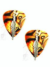 BROWN ABALONE LOOK GUITAR PICK w FEATHER CHARM EARRINGS