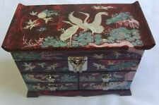 Mother of Pearl Asian Lacquer Wooden Jewelry Box