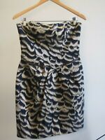 Cue Womens Size 10 Strapless Metallic Cocktail Dress with Structured Bodice EUC