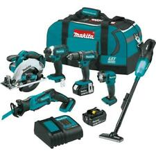 Makita 18v Cordless Combo Tool Kit 6 Tools Drill Impact Saw Vacuum Light Set