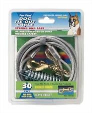 Four Paws Heavy Weight Silver 30 Ft Secure Dog Tie Out Cable Pet Yard NEW