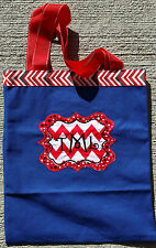 Personalized Embroidered Navy Canvas Tote Bag Red and Black Polka Dots Chevron