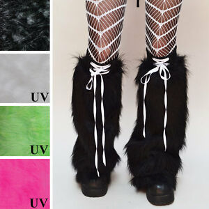 Fur Leg Warmers Black Flared Boot Covers Corset Legwarmers Halloween Lace Up OS