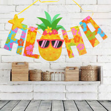 Hawaii Pennant Tropical Glitter Gold Letter Pineapple Hanging Banners Luau Decor