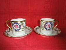 HAVILAND LIMOGES LOUVECIENNES 2 CUP AND & SAUCER 2 TASSE A CAFE A THE PORCELAINE