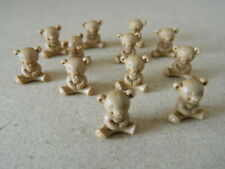 (M1.3) DOLLS HOUSE SET OF 12 MINI PLASTIC BROWN TEDDY BEARS