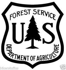 US FOREST SERVICE SHIELD STICKER BUMPER STICKER BLACK ON WHITE LAPTOP STICKER