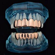 Grillz Set 14k Rose Gold Plated Top & Bottom 6 Tooth Slugs Hip Hop Teeth Grills