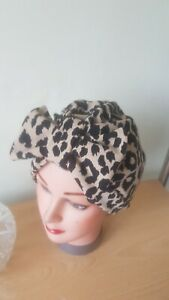 TURBAN leopard print black tan stretch ponte  1940s 50s hat bow swing bow chemo