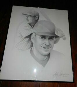 Gary Saderup (Cal Ripken and Lou Gehrig) Charcoal Drawing Framed Yankees Orioles