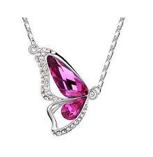 GirlZ! purple swarovski Like element crystal Butterfly Pendant necklace