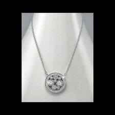 FORMAL STERLING SILVER NECKLACE CUBIC ZIRCONIA CLUSTER PENDANT CHAIN & GIFT BOX