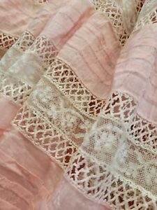 Beautiful!! PINK SILK French Antique Lace Valencienne DRESS Flounce