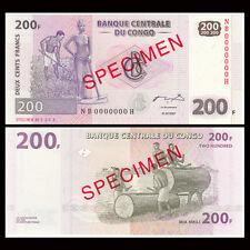 [SPECIMEN] Congo 200 Francs, 2007, P-99s, UNC, Banknotes, Original