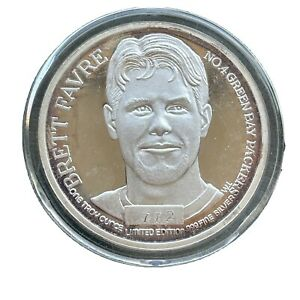 Vintage 1997 Brett Favre Pro Bowl 1 Troy Oz Silver Coin Green Bay Packers RARE