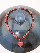 Steinkette Herz Kette Collier 925 Silber Granat Aventurin Jaspis Carneol rot