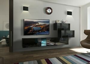 Mediawand Wohnwand 5 tlg - SENOX 5 - Schwarz Hochglanz inkl.LED