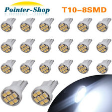 20x Cool White T10 W5W 194 8SMD Wedge Car License Plate Dome Map LED Light Bulbs