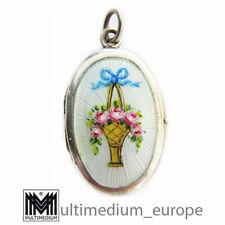 Medaillon Anhänger JUGENDSTIL Silber um1900 transluzides Emaille Blumen