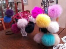 Genuine fox fur pom pom key chain, many colors