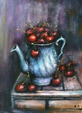 Kitchen Cherries painting 5 x 7 inch original acrylic canvas signed