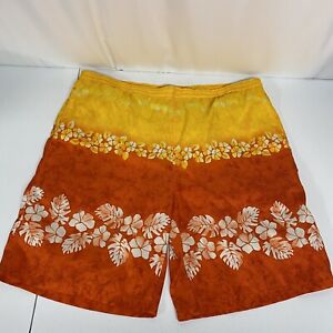 Nautica Mens Board Swim Trunks Shorts Size XL Drawstring Hawaiian Orange