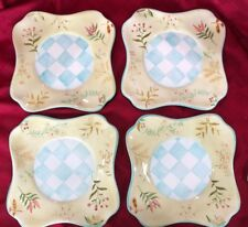 4 CAPRIWARE BOTANICAL HAND PAINTED STONEWARE LUNCHEON PLATES GARDEN CHIC