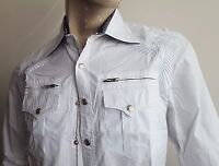 SUB - Long Sleeve Embroidered Shirt in White