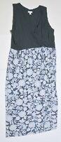 Woman's J.JILL Blue Floral Maxi Dress V Neck Sleeveless Size Large L Petite