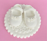 Edible baby shoes cake topper decoration. Edible girls christening cake topper