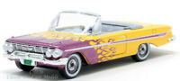 1961 Chevrolet Impala Yellow Convertible w/Flames HO 1/87 Scale Oxford 87CI61004