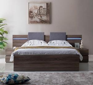 ZAVA Mocha Oak DOUBLE Bed with Upholstered Cushion Headboard Drawer Base Frame
