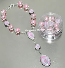 12 NEW BABY ROSARY BRACELETS PINK STROLLER BABY SHOWER BAUTIZO RECUERDOS FAVORS