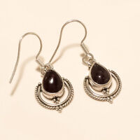 Natural Mozambique Red Garnet Vintage Charm Earring Sterling Silver Fine Jewelry