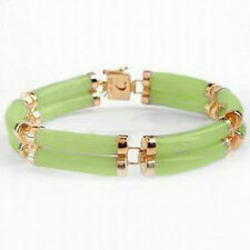 2 Rows Natural Light Green Jade Yellow Gold Plated Fortune Clasp Bangle Bracelet